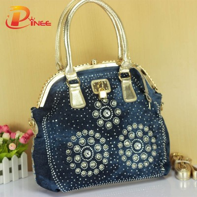 Rhinestone Handbags Designer Denim Handbags women handbag designer woven tote bag delicate diamond large women messenger bag