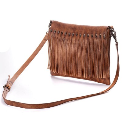 2017 Women Genuine Leather Fringed Messenger Bag Brown Tassel Boho Hippie Gypsy Fringe Vintage Bohemian Feminine Shoulder Bag