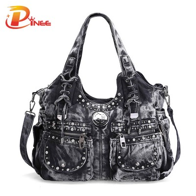 Vintage Denim Shoulder Handbags 2017 New Design Brand Elegant Rhinestone Fashion Women Shoulder Bag Jeans Casual Ladies Denim Handbags Female Denim Tote Bag