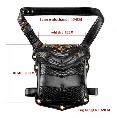 Fashion Punk Waist Bag PU Leather Men's Chest Bag Gothic Black Belt Bag Rivet Moto Biker Shoulder Bag Steampunk Waist Pack