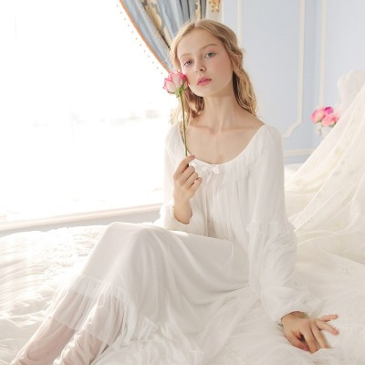 Women Bathrobe Sweet Sleepwear dress Princess Lace Nightgown For Ladies Pink White Sleep Lounge Vintage Nightdress Royal Casual