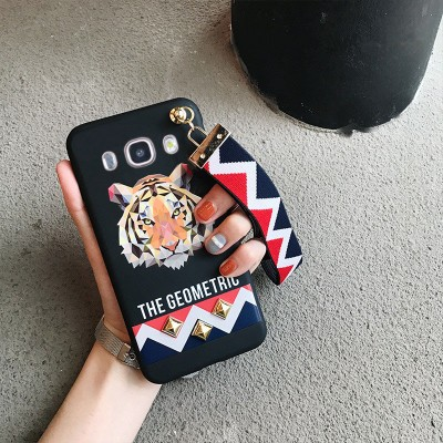Rivet Studded GRIP Wrist Strap Phone Case For Samsung S6 S7 Edge S8 Plus A7 A8 A9 C5 C7 C9 Animal Tiger Rabbit soft Cases Cover