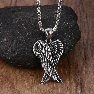 Mprainbow Men Necklaces Stainless Steel Gothic Vintage Double Angel Wings Pendant Collier Kolye Mens Fashion Biker Jewelry 24