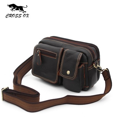 CROSS OX 2017 Vintage Genuine Leather Bags Waist Packs For Men Belt Waist Bags For Men Casual Fashion Brand Business Bag SL343M