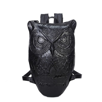 Women Backpack 2019 Newest Stylish Cool Black PU Leather Owl Backpack Female Hot Sale Women Bag In Stock Fast Shipping