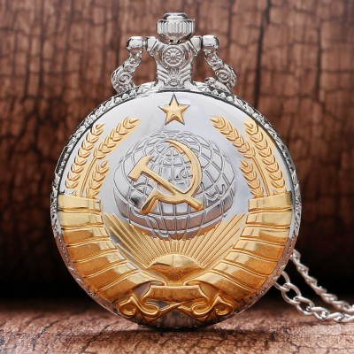 Fashion Silver  Golden Soviet Sickle Hammer Style Quartz Pocket Watch Men Women Pendant Gift Drop Shipping