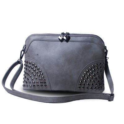 Nubuck Leather Shell Bag Women Trendy Fashion Chain Hand Bag Designer Chic Rivets Ladies Shoulder Bag PU Small Crossbody Bag