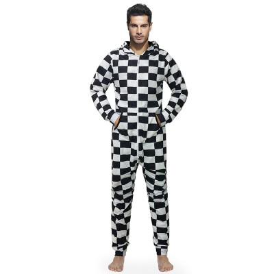 New Arrival Pajamas Men Onesies Hooded Male Jumpsuits With Hat Loose Casual Style 3d Print White Black Plaid Large Size
