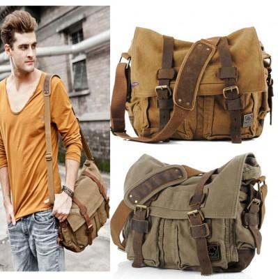 2019 Canvas Leather Crossbody Bag Men Military Army Vintage Messenger Bags Large Shoulder Bag Casual Travel Bags I AM LEGEND