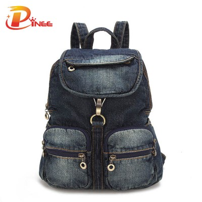 American apparel denim backpack Women's Backpack Denim Daily Backpack Vintage Backpacks Travel Lady Bag 2016 Rucksack Bagpack School black blue denim backpack