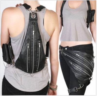Top Quality PU Leather Punk Rock Shoulder Waist Fanny Leg Bag Punk Rock Shoulder Messenger Bags