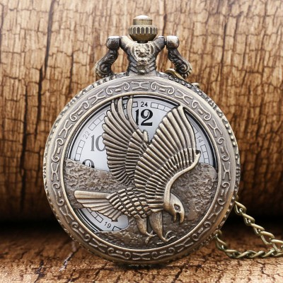 2019 New Bronze Hollow Eagle Quartz Pocket Watch Pendant Necklace For Men Lady Women Day Gift