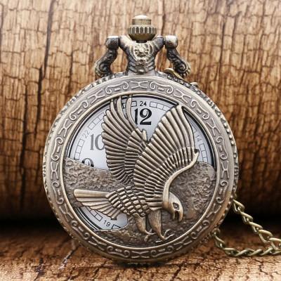 2019 New Bronze Hollow Eagle Quartz Pocket Watch Pendant Necklace For Men Lady Women Day Gift