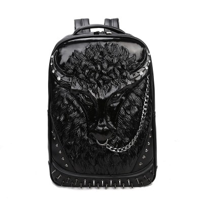 2019 Tauren Gothic Steampunk Unique backpack cool bag steampunk fashion Men Backpack Rivet Emboss 3D Animal Backpack Halloween Leather Bags