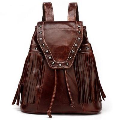 Vintage Brown Genuine Leather Women Mini Backpack Ladies back pack Stud Rivet backpacks for teenage girls