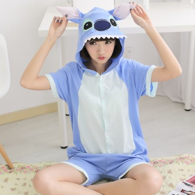 Couple Blue Stitch Onesies Summer Girls 95% Cotton Short sleeved Pajama pyjama Men Women Cartoon Animal type Sleepwear Tracksuit