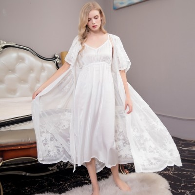 Sexy Lace Robe Lady White Lace Robe Suit Elegant Robe Two piece Women Long Bathrobes Suit Hot sale