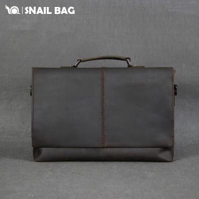 Snail original car suture leather tote bag features Crazy Horse Leather Messenger Bag Dakuan retro Xiekua package