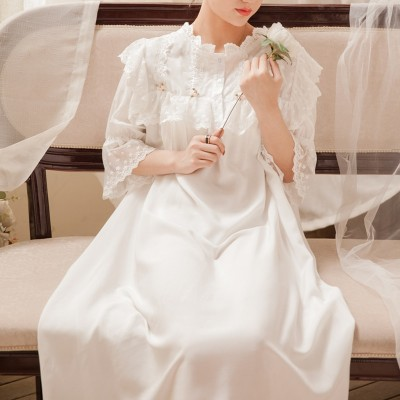 Women Loose Nightgown Long Sleepwear Nightdress Gown Sweet Retro Long Homewear Dress 5 color