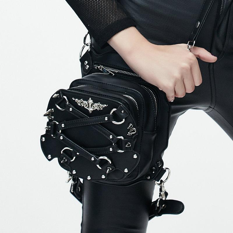 Steampunk Thigh Bags Gothic Steampunk Women Waist Bags Retro Black Leather Messenger Bag Rock Goth Leg Pack Holster Hip Belt Shoulder Bags