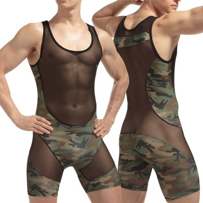 Onesie Pyjamas Mens Sexy Round Neck Sleeveless Underwear One-piece Sexy Men's Underwear Mesh Camouflage Underwear Adults Onesie