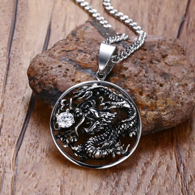 Mens Vintage Necklaces Stainless Steel Hollow Carved Dragon with CZ Amulet Pendant Necklace Men Boy Hiphop Bike Jewelry collares