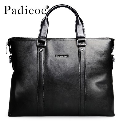 Top Quality  Real Cow Leather Totes Luxury Brand Men's Leather Briefcases Business Mens Genuine Male Bag Black messenger bags