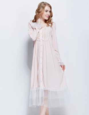 Sleepwear female autumn thin cotton silk pink laciness usuginu sweep open front long-sleeve nightgown plus size long design