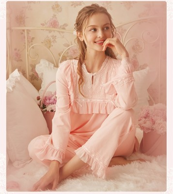 Autumn Pajamas Set Ladies Vintage Pajamas For Women Sleepwear Femmes