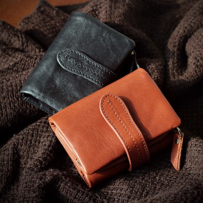 Real New Genuine Leather Women Coin Pocket Purse Retro Credit Card Holders Soft Feminina Wallet Short Small 2019 Change Wallets