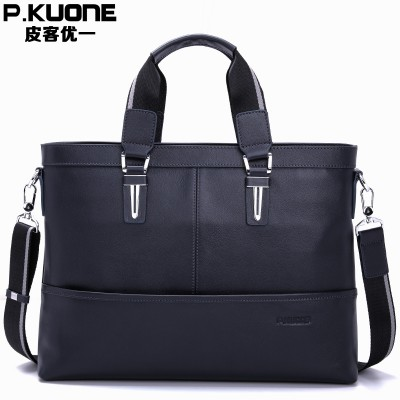 Genuine Leather Men's Bags Cowhide Leather Men's Messenger Crossbody Shoulder Handbag Briefcase 14 Laptop Business Bag P630363