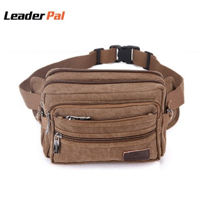 Leather Fanny Pack Vintage Small Canvas Fanny Pack Travel Waist Bag Hip Purse Belt Bag Bum Bag Black/Khaia/Army green/Coffee