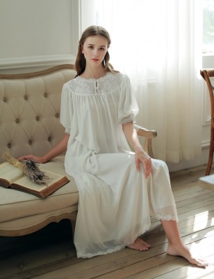 High Quality Sleepwear Nightgown White Short Sleeve Summer Nightdress Royal Classic Design Sleepwear One Piece Dress Comfortbale