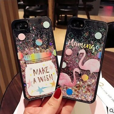 cartoon phone cases Cute Cartoon Flamingo Bling Case Dynamic Glitter Stars Liquid Phone Cases Cover For iphone 6S 7 6 plus 7 Plus 100pcs cartoon cases
