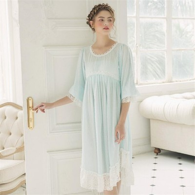 Cotton Sleepwear Vintage Dress Women Nightgown Casual Sleepwear Women Night wear