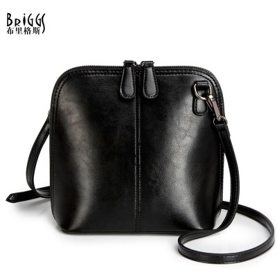 BRIGGS Fashion Women's Genuine Leather Shoulder Bags Vintage Women Shell Messenger Bag 2017 Designer Brand Small Crossbody Bags