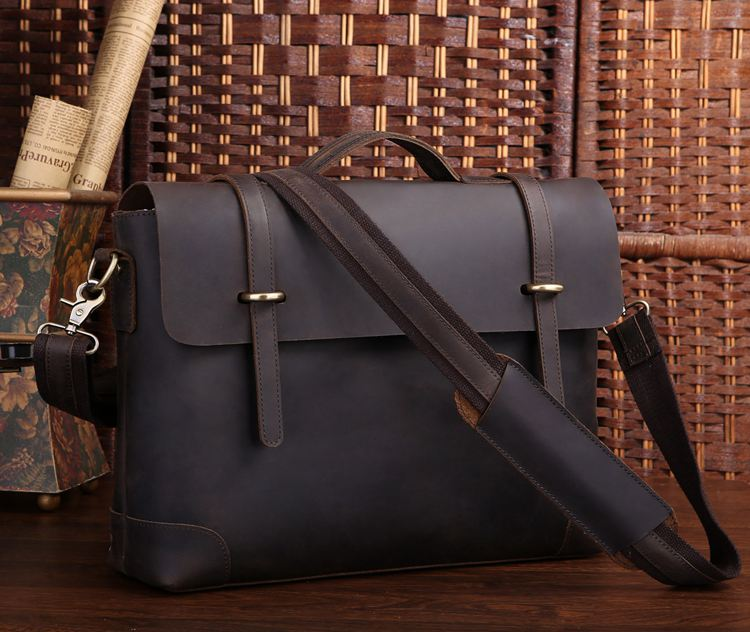 Vintage Crazy Horse Genuine Leather Men Messenger Bags Cow Leather Men s  Briefcase Portfolio 14 Laptop Travel Bags  MD-J7082 94145cf1c8d39
