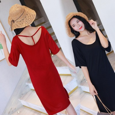 Summer soft modal casual dress women loose hollow short-sleeved nightdress T-shirt sexy dress female sleepshirts sleepdress