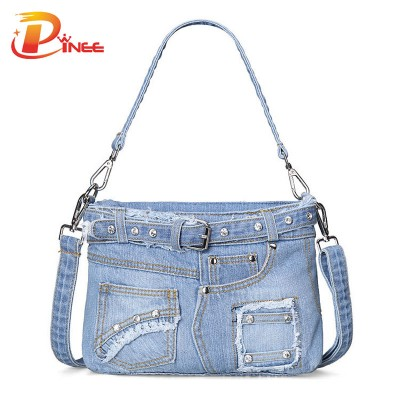 Vintage Denim Shoulder Handbags Luxury Handbags Women Bags Designer Women Messenger Bags Vintage Casual Denim Crossbody Bag