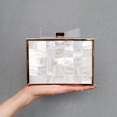 Luxury Natural Shell frame Handbags Day Cutch Bow Acrylic Evening Bags Mini Crossbody Bags Chain Wallet Lady Party Wedding Purse