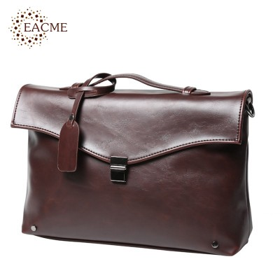 Vintage Men Briefcase Business Handbag Men's Shoulder Bags Crazy Horse PU Leather Crossbody Laptop Bag Black Male Mochila 2017