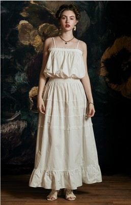 Sexy Sweet Camisole Dress Nightgown  Woman Pure Cotton Long Sleepwear Vintage Night Gown Medieval Elegant Style