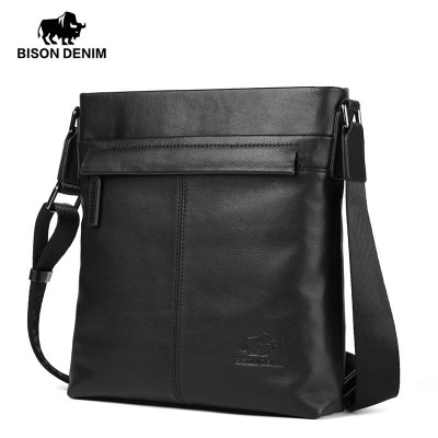 Bison Denim Genuine Leather Shoulder bag Top Quality Black Cowhide Men Bag Casual Satchel