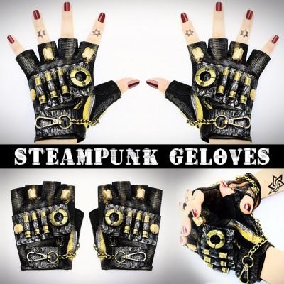 Halloween Cosplay High Quality Hot Sale Steampunk Neutral Rock Locomotive Dance Show Cool Half Finger Gloves Props
