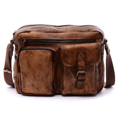 Vintage Real Leather Pure Handmade Men Handbags Genuine Messenger Cross-body Bags Fashion mens leather laptop shoulder bag