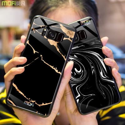 Mofi  Case For Samsung Galaxy S8 Plus for Samsung Galaxy s8  Case Glass Hard Case Cover for samsung s8 samsung s8 plus marble grain black for galaxy s8 plus Phone Case