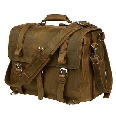 Vintage Crazy Horse Genuine Leather Men Briefcase Business Bag Large Leather Briefcase Men 15.6Laptop Case Shoulder Bag M086#