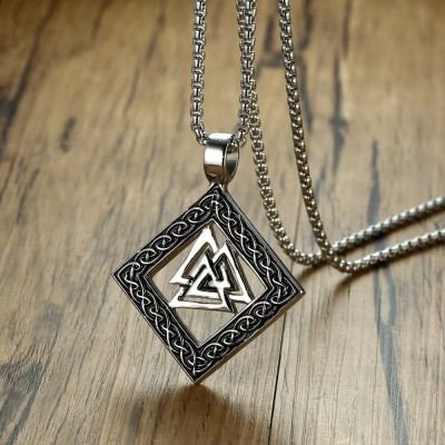 Valknut Vikings Scandinavian Norse Warriors Knot Pendant Necklac for Men Stainless Steel Nordic God Odin symbol Male Jewelry 24
