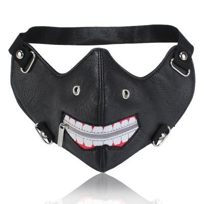 Plague Mask Steampunk Plague Doctor Mask Personality Men Mask Unisex Dustproof Outdoor Black Fashion Mask PU Leather Rivet Zipper Mouth Cycling Masks