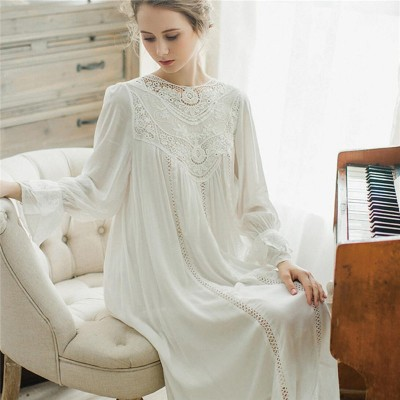 Women Sleepwear Lace Long Sleeves Vintage Princess Sleep Lounge Dress Light Blue Elegant Summer Cotton Nightgowns Plus Size